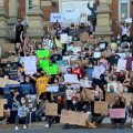 Part of the crowd at a Black Lives Matter rally and police brutality protest in Athens, OH on Sunday, May 31, 2020.