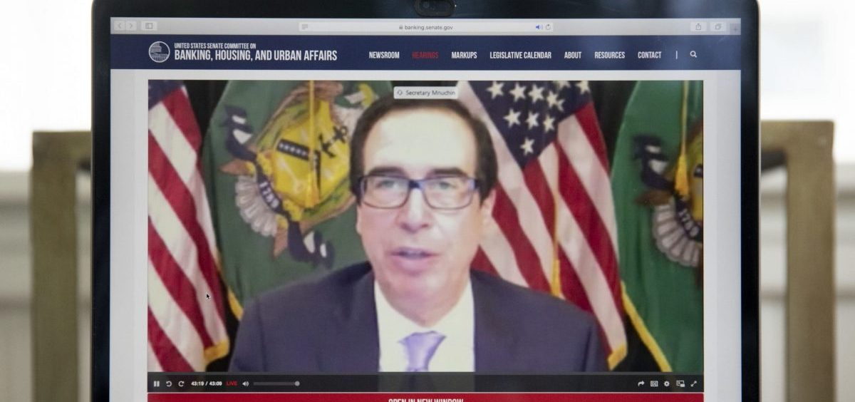 Treasury Secretary Steven Mnuchin speaks during a virtual hearing of the Senate Banking Committee on Tuesday. Powell and Treasury Secretary Steven Mnuchin testified on the rescue package passed by the Congress in March.