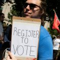A voter registration volunteer in Philadelphia in 2018. New registrations had surged going into 2020 but have dropped off dramatically as a result of the coronavirus pandemic.