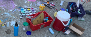 Homemade sidewalk chalk, made with water, corn starch, and food coloring.