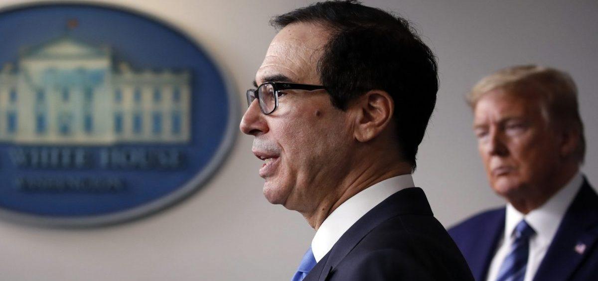 Treasury Secretary Steven Mnuchin speaks at a White House coronavirus press briefing in April.