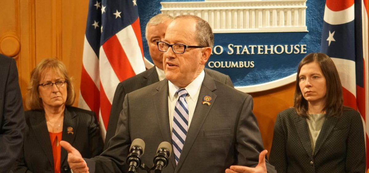 Rep. David Leland (D-Columbus) at a press conference with other Ohio House Democrats in 2019.