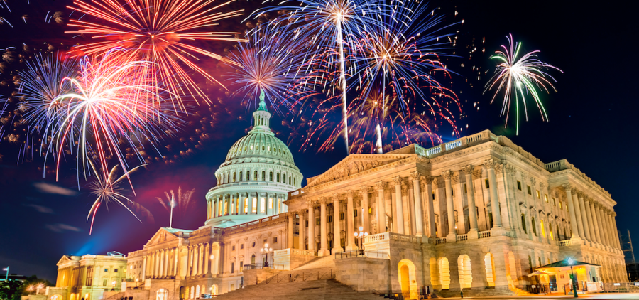 fireworks over the US Capitol Building