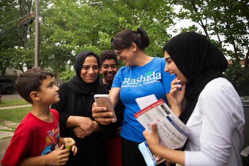 Detroit's Rashida Tlaib campaigning