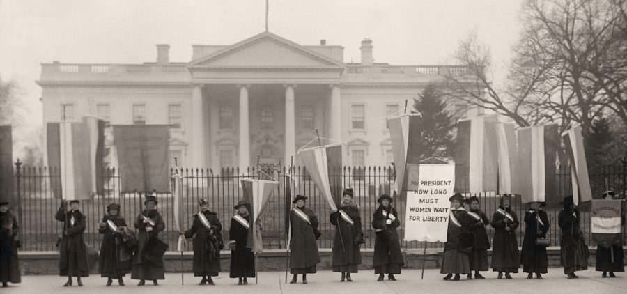 Suffragists picket in front of the White House. Washington, D.C., February 1917.