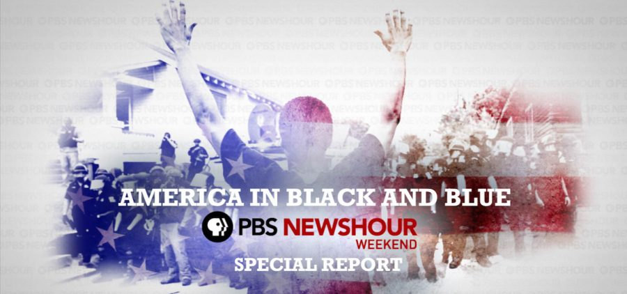 "title slide for""America in Black and Blue"" a PBS Newshour Special"