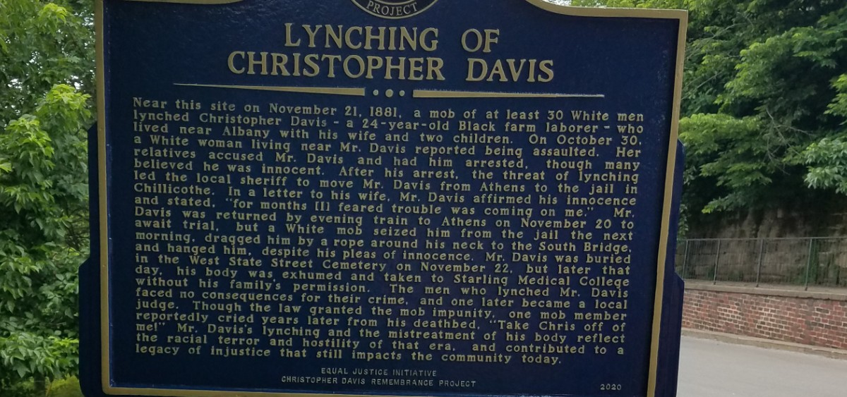 A marker in memory of Christopher Davis, who was lynched in 1881 by a mob of White men. The marker is on Mulberry Street in Athens, Ohio.