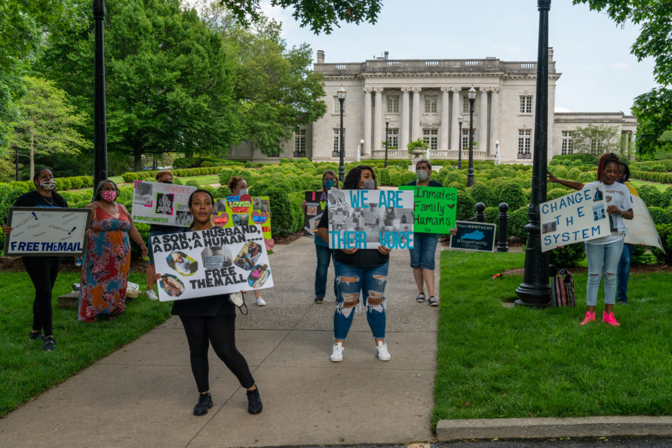 """The group """"Prison Wives of Green River"""" protested May 23 to call attention to COVID-19 cases in the prison."""
