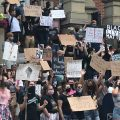 A protest in front of the Athens County Courthouse Tuesday against the killing of George Floyd
