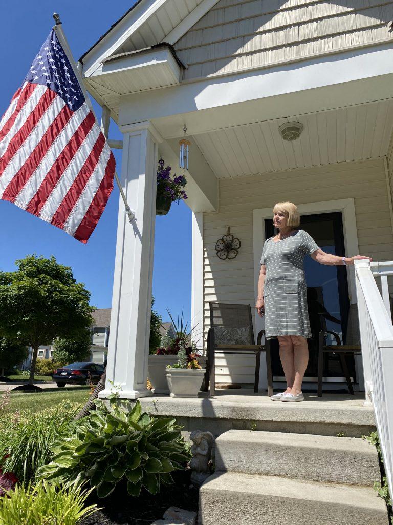 Linda Gadek outside her home in suburban Columbus.