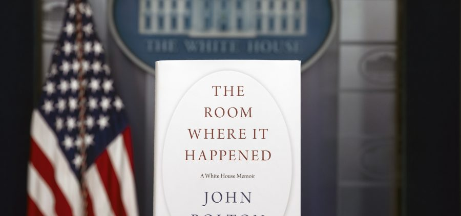 A copy of John Bolton's new book, The Room Where It Happened, stands in the White House briefing room. On Saturday, a federal judge declined the Trump administration's request to block the publication of the former national security adviser's book.