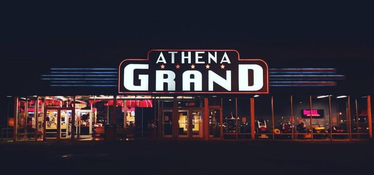 The Athena Grand at night