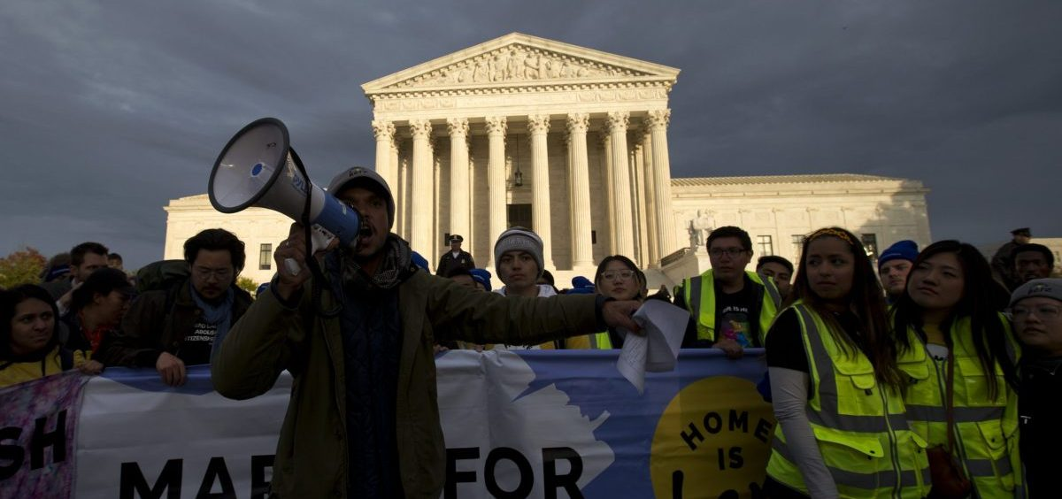 Demonstrators arrive in front of the U.S. Supreme Court during a march in support of Deferred Action for Childhood Arrivals (DACA) on Nov. 10.