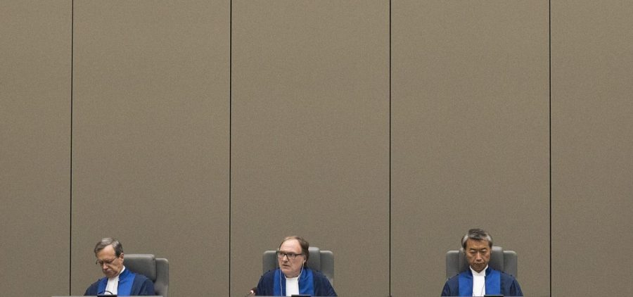 A trio of judges oversee a trial in 2017, at the International Criminal Court in The Hague, Netherlands.