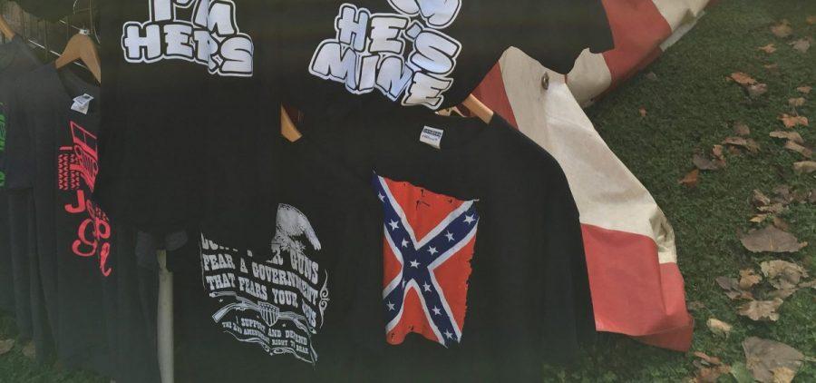 A Confederate shirt at a county fair.