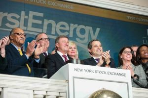 FirstEnergy Corp. executives ring the closing bell at the New York Stock Exchange in 2018.