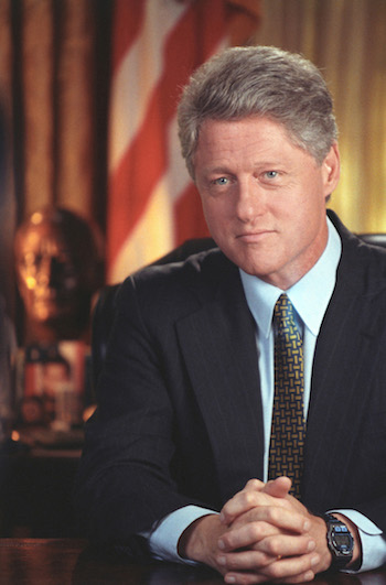 Official portrait of President Clinton. Taken during a Health Care Radio Address taping in the Oval Office at the White House. (August 5, 1994)