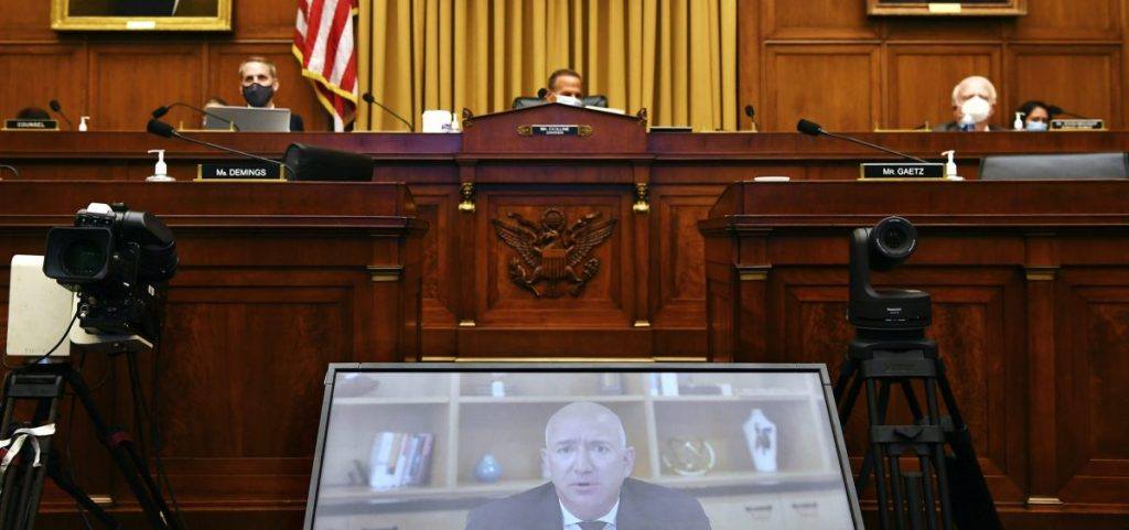 Amazon CEO Jeff Bezos testifies remotely during a House Judiciary subcommittee on antitrust on Capitol Hill on Wednesday, July 29, 2020, in Washington.