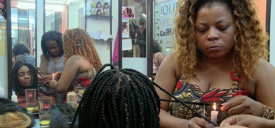 Sabine in her stylist shop
