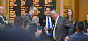 Rep. Larry Householder (R-Glenford) is congratulated after his election as Speaker of the Ohio House in January 2019.