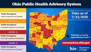A map shows the level of spread of coronavirus in Ohio