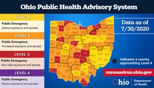 The Ohio Public Health Advisory System map for July 30