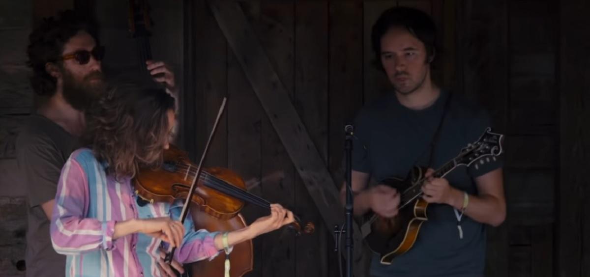 Mandolin Orange playing on Gladden House stage