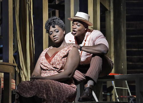"""Angel Blue as Bess and Frederick Ballentine as Sportin' Life in the Gershwins' """"Porgy and Bess."""""""
