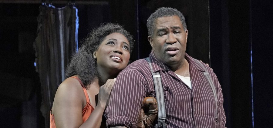 "Angel Blue as Bess and Eric Owens as Porgy in Gershwins' ""Porgy and Bess."""