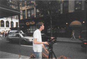 Shields operating camera on NYC street