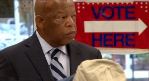 John Lewis about to vote at his polling station in Atlanta, Georgia.