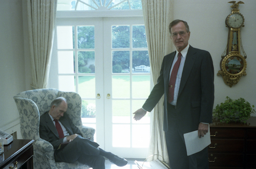 National Security Advisor Brent Scowcroft (left) worked legendarily long hours. President Bush notes his frequent habit of nodding off, June 26, 1990