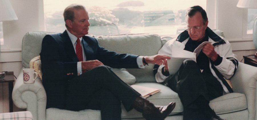 Secretary of State James Baker meets with President Bush in Kennebunkport, Maine, August 11, 1992