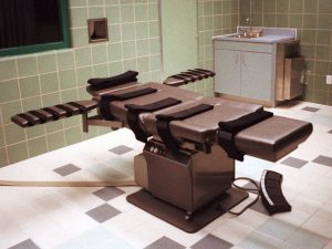 The death chamber, equipped for lethal injection, at the U.S. Penitentiary in Terre Haute, Ind., as shown in a file photo.