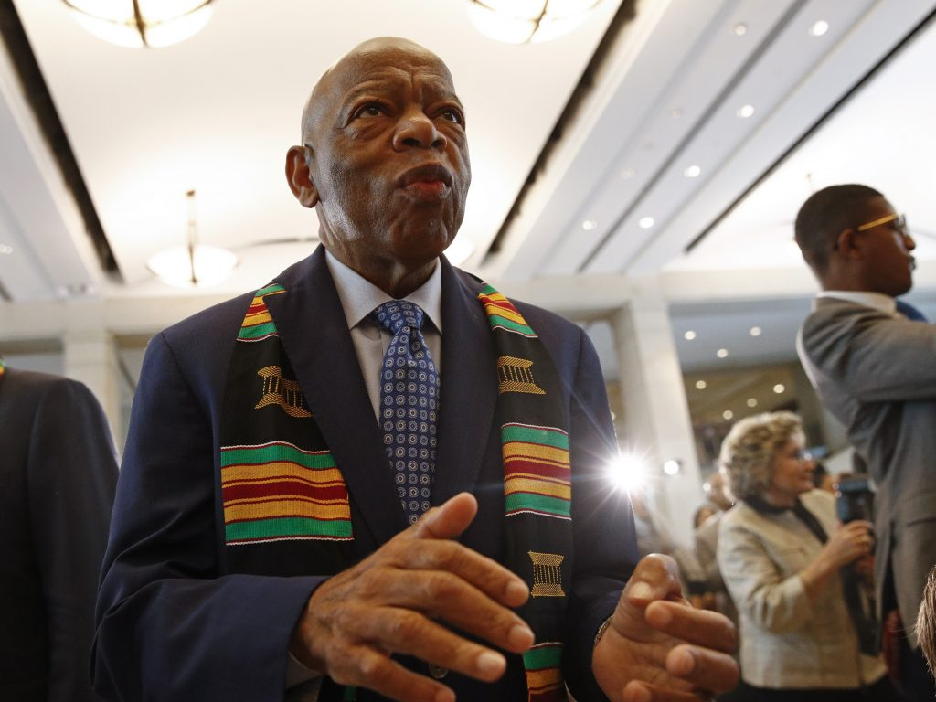Rep. John Lewis attends a ceremony in September on Capitol Hill to commemorate the 400th anniversary of the first recorded arrival of enslaved African people in America.