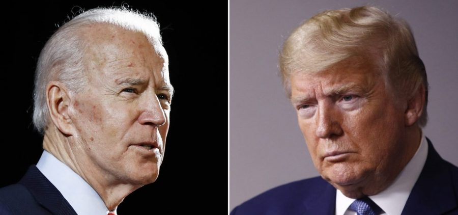 In this combination of file photos, former Vice President Joe Biden speaks in Wilmington, Del., and President Donald Trump speaks at the White House.