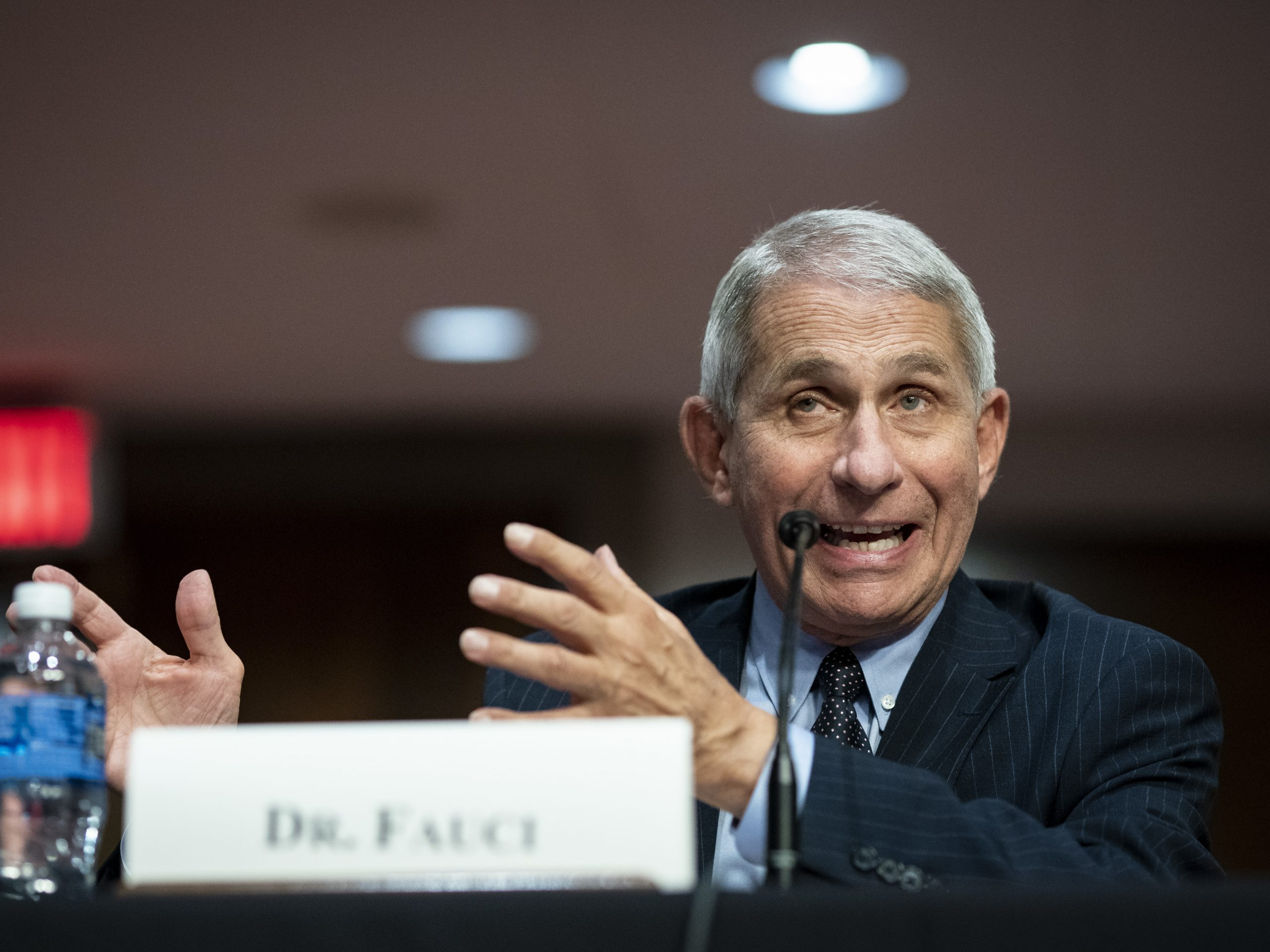 Dr. Anthony Fauci, director of the National Institute of Allergy and Infectious Diseases, speaks during a Senate Health, Education, Labor and Pensions Committee hearing on Tuesday.