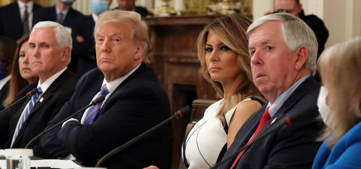 President Trump, seated next to first lady Melania Trump and Vice President Mike Pence, participates in an event with students, teachers and administrators about how to safely reopen schools during the pandemic on July 07, 2020.