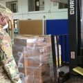 An Ohio National Guard soldier watches a forklift move a load of personal protective equipment as part of a mission in April. This was one of several pandemic-related assignments the Guard has been deployed on since March.
