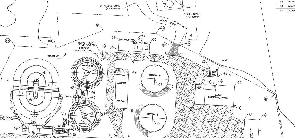 A section of the plan for the new Nelsonville wastewater treatment plant along Elm Rock Road.