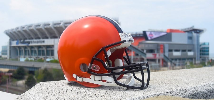 Cleveland Browns helmet with stadium in background