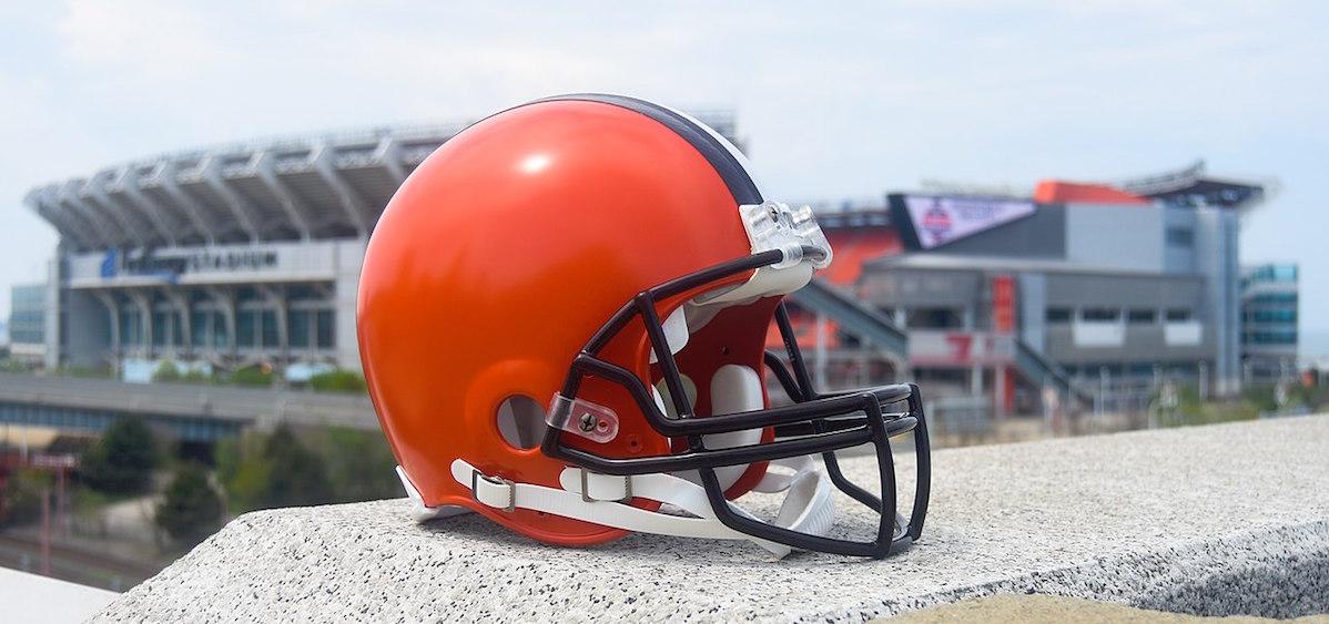 Cleveland Browns helmet with stadium in background