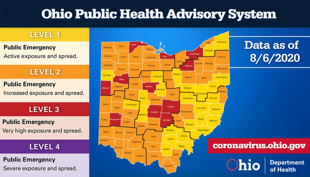 The Ohio Public Health Advisory System map for August 6