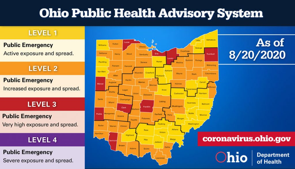 The Ohio Public Health Advisory System map for August 20