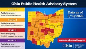 The Ohio Public Health Advisory map for August 13