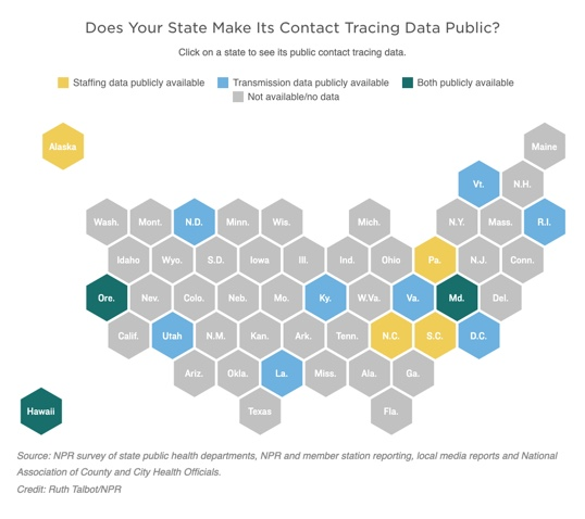 A map show if a state makes it contact tracing data public