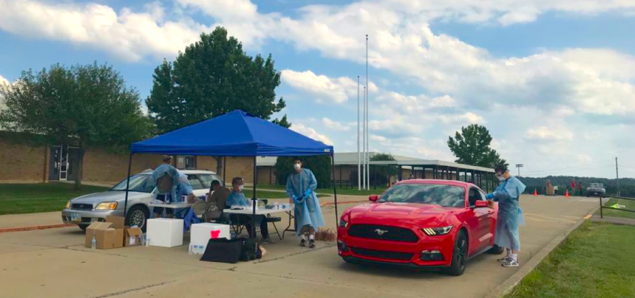 The National Guard and the Athens City-County Health Department administered free pop-up COVID-19 tests at the Athens High School parking lot in August.