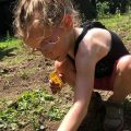 Osborn daughter planting a garden