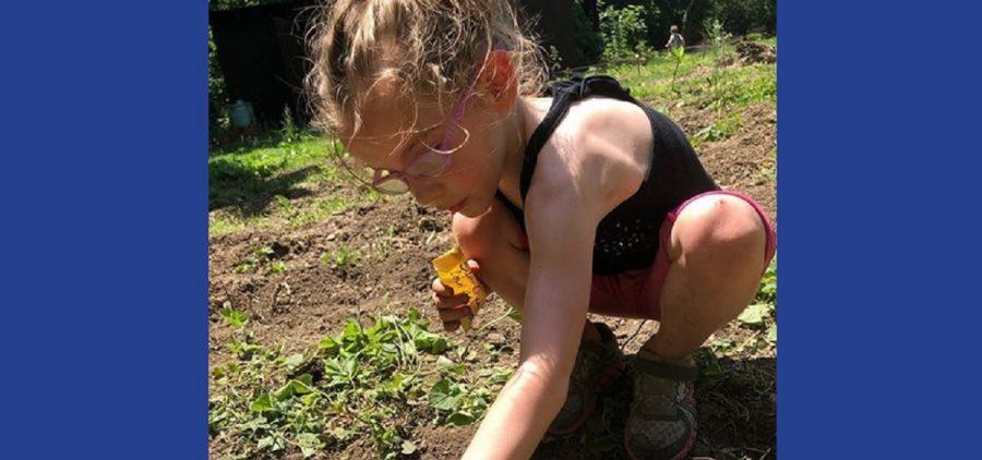 Osborn daughter planting a garden