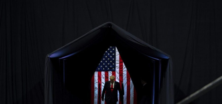 President Trump arrives to speak at a campaign rally at Veterans Memorial Coliseum on Feb. 19 in Phoenix.